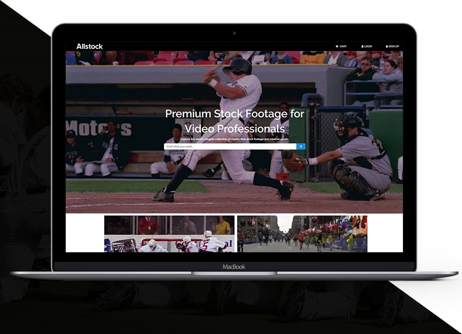 A web browser displaying Allstock homepage with sports images